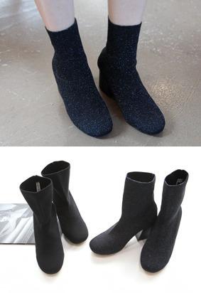 时髦粗高跟袜靴