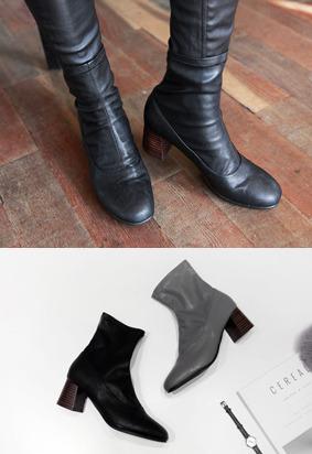 拼接元素粗中跟踝靴