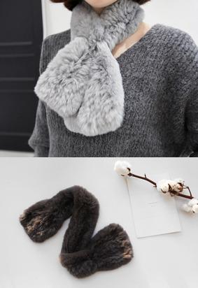 穿插式獭兔毛围巾