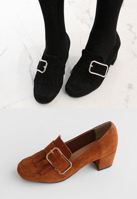 扣带&流苏元素绒面粗跟鞋