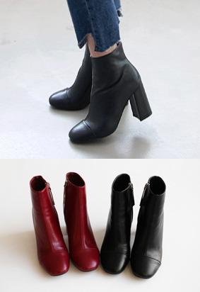 拼接元素拉链粗跟短靴