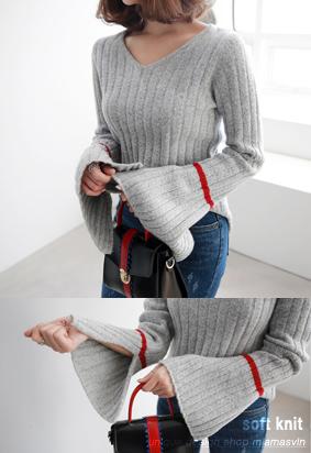 配色线条&开衩元素针织衫